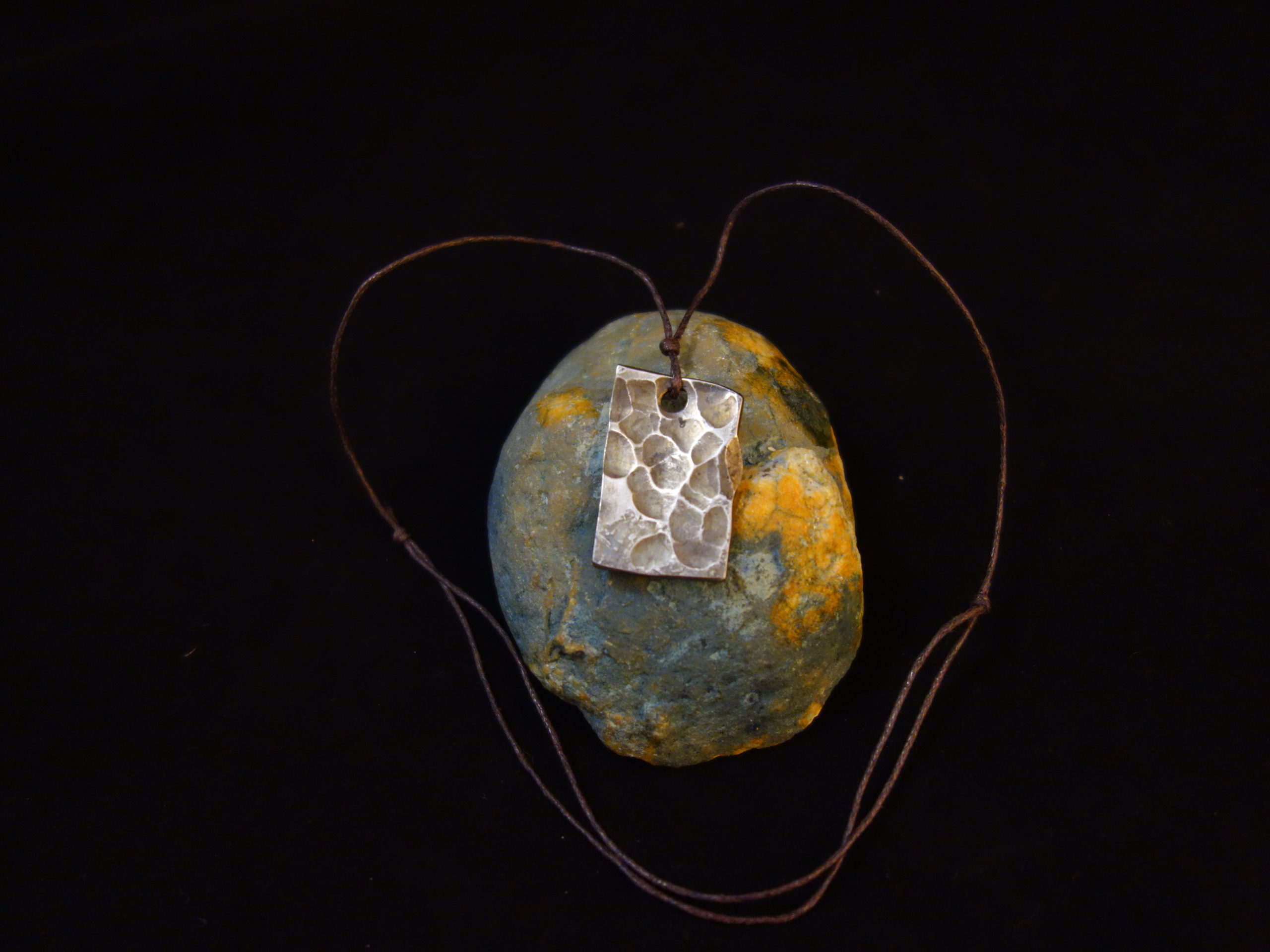 Rough hand forged stainless steel pendant moon surface #1
